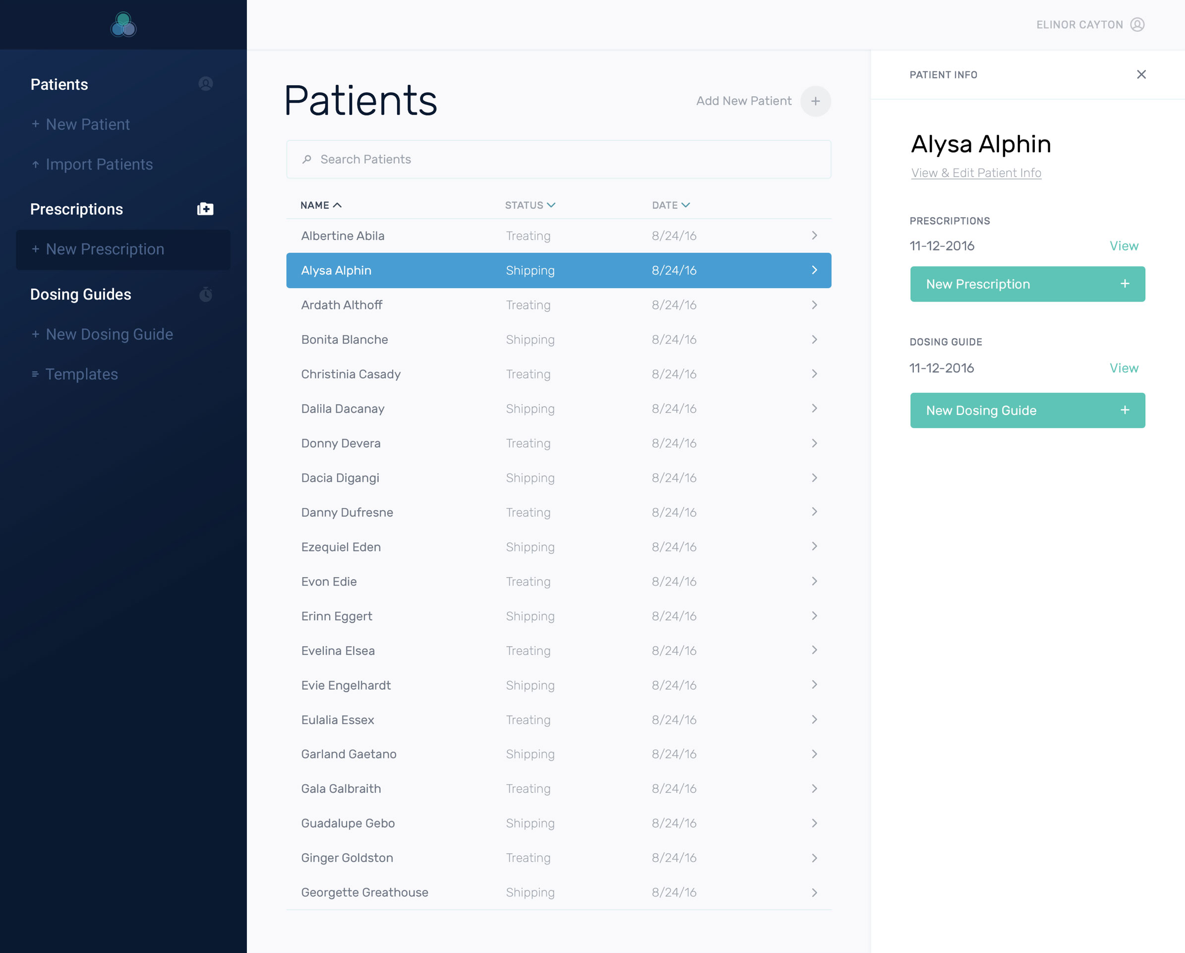 Designs of the patients dashboard within the Daavlin app