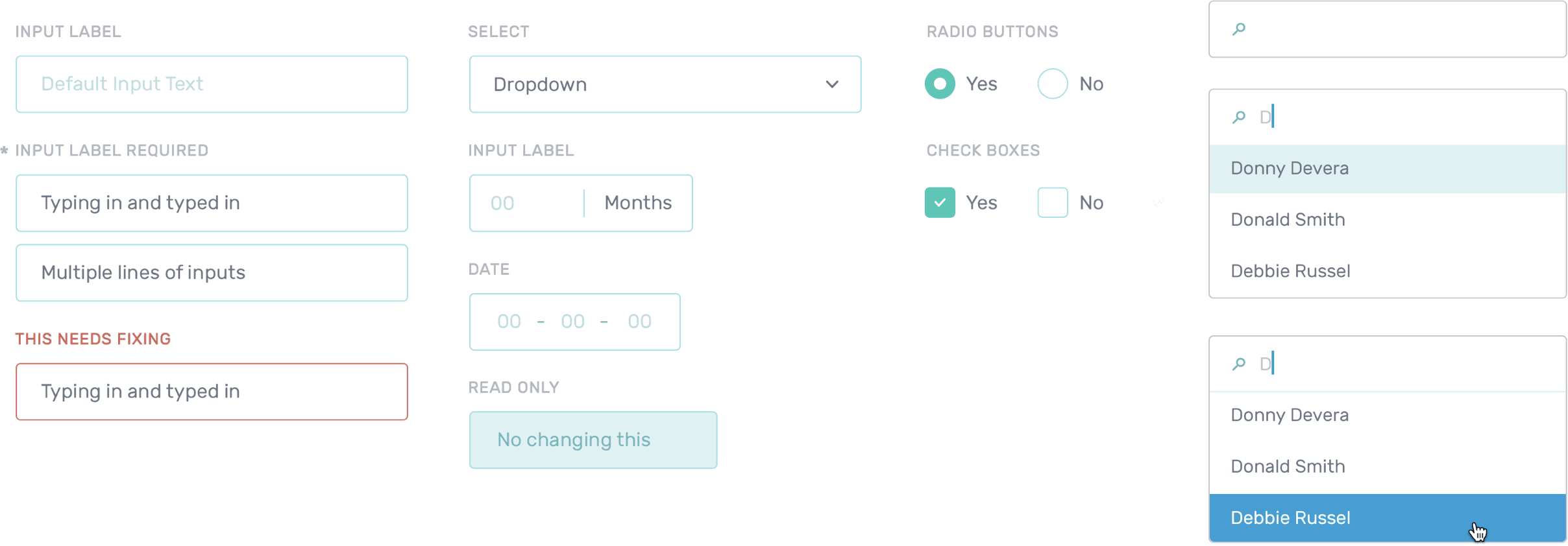 Designs of various UI components like form inputs used within the Daavlin app
