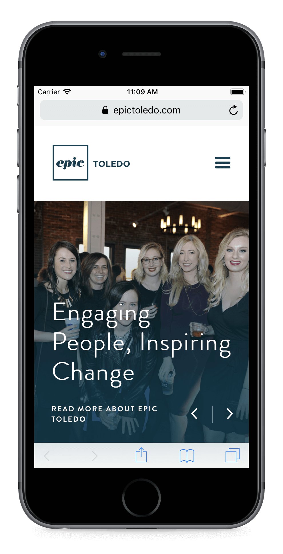 An apple iPhone showcasing the new epic toledo website