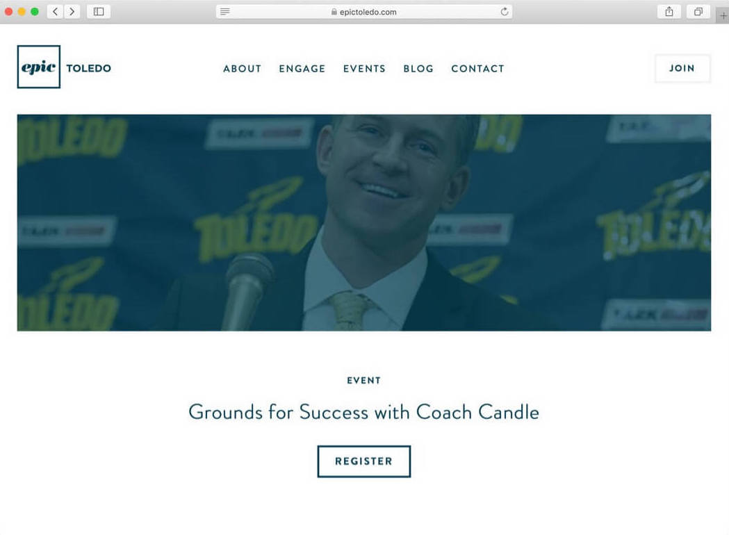 Desktop screenshot of the Epic Toledo website after Whitelabel redesigned it